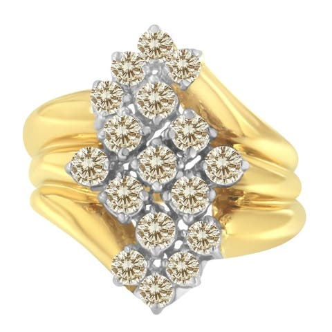 2 Micron 10K Yellow Gold Plated Sterling Silver 1 1/2ct TDW Diamond Cocktail Ring (J-K,I1-I2)