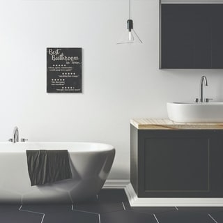 Stupell Industries Best Bathroom Five Star Black Funny Word Design Canvas Wall Art, Proudly Made in USA