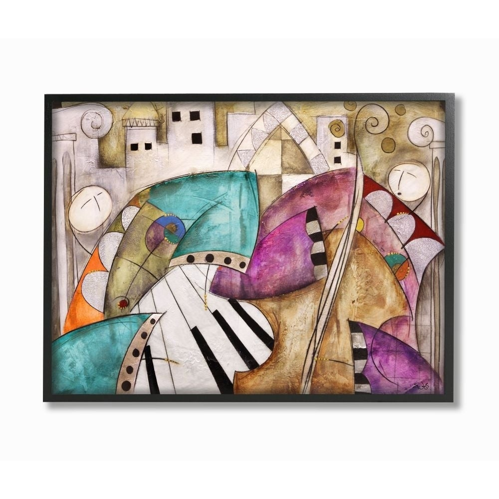 Stupell Industries Colorful Geometry Abstract Jazz Band Painting Black Framed Wall Art Proudly Made In Usa