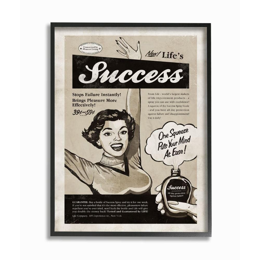 Shop Stupell Industries Success Spray Funny Vintage Comic Book Design Black Framed Wall Art Proudly Made In Usa Overstock 29129728
