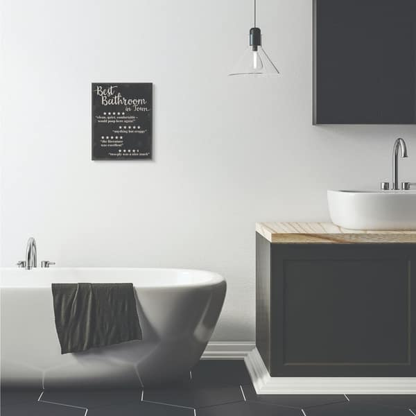 Stupell Industries Best Bathroom Five Star Black Funny Word Design Framed Wall Art Proudly Made In Usa