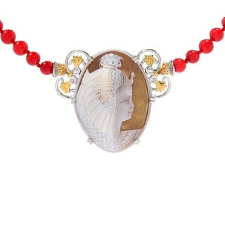 Michael Valitutti Palladium Silver Carved Shell Cleopatra Cameo Red Coral Necklace