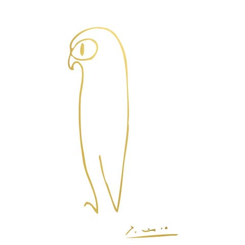 CANVAS Picasso Owl in Gold Art Painting Reproduction
