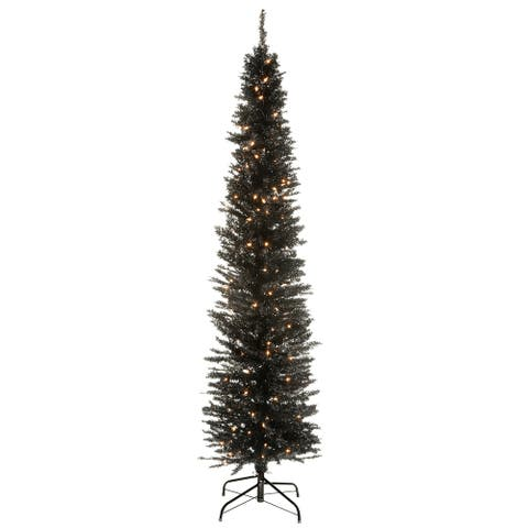6 ft. Black Tinsel Tree with Clear Lights