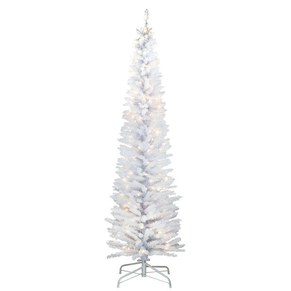 6 ft. White Iridescent Tinsel Tree with Clear Lights