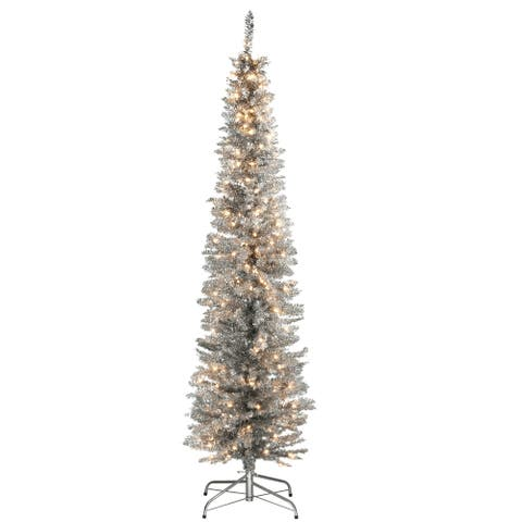 6 ft. Silver Tinsel Tree with Clear Lights