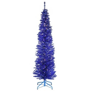 6 ft. Blue Tinsel Tree with Clear Lights