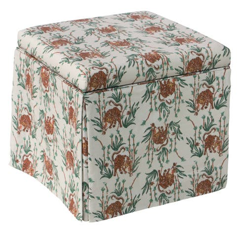 Skyline Furniture Skirted Storage Ottoman in Tiger Bamboo Cream