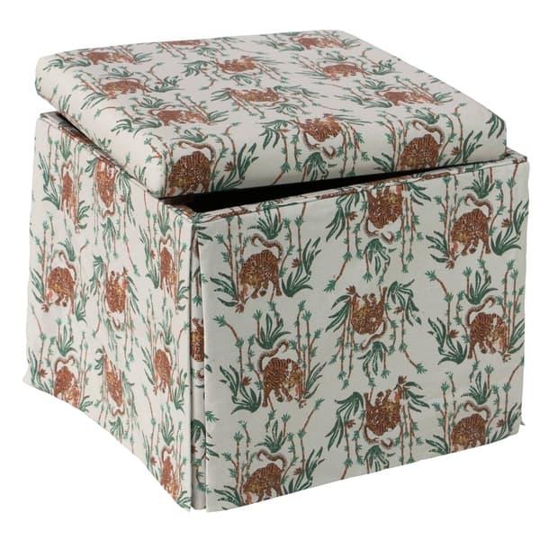 Marvelous Shop Skyline Furniture Skirted Storage Ottoman In Tiger Inzonedesignstudio Interior Chair Design Inzonedesignstudiocom