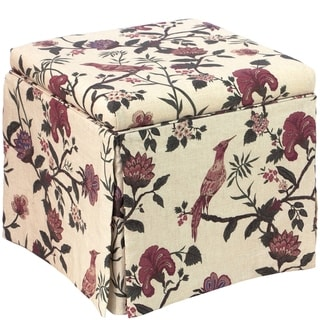 Skyline Furniture Skirted Storage Ottoman in Shaana Holiday Red