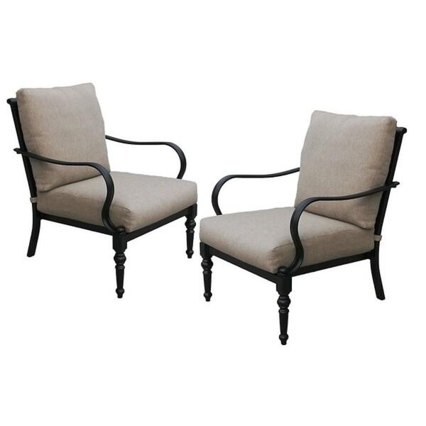 Astonishing Shop Cast Aluminum Chair With Sunbrella Cushion 2 Pack Home Interior And Landscaping Ponolsignezvosmurscom