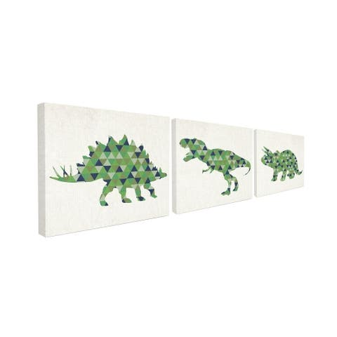 The Kids Room by Stupell Geometric Dinosaurs Green Blue Kids Design Canvas Wall Art,16 x 20, Proudly Made in USA - 16 x 20