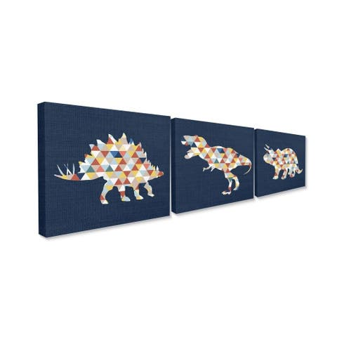 The Kids Room by Stupell Geometric Dinosaurs Blue Red Yellow Kids Design Canvas Wall Art,16 x 20, Proudly Made in USA - 16 x 20