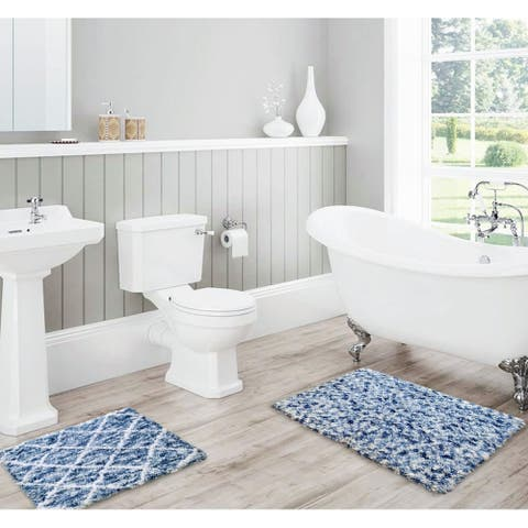 Lush Diamond Jacquard Bath Mat Set