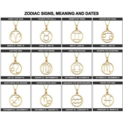 14k Yellow Gold Constellation Zodiac Sign Pendant Necklace (17 inches)