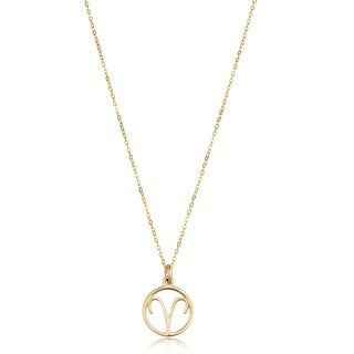 14k Yellow Gold Constellation Zodiac Sign Pendant Necklace (17 inches) (ARIES)