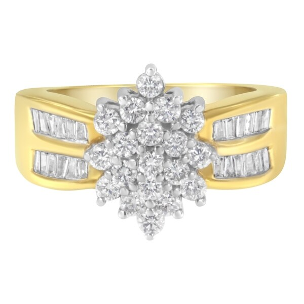 10K Yellow Gold 1ct TDW Floral Cluster Diamond Ring (H-I,SI2-I1). Opens flyout.