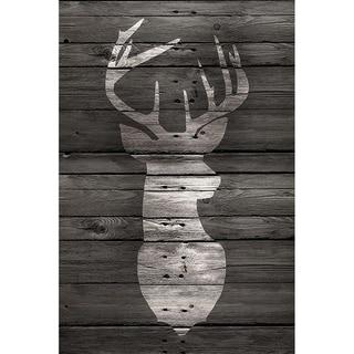 CANVAS Lodge Deer on Black Wood by Claudia Schoen     Graphic Art - 18 x 12