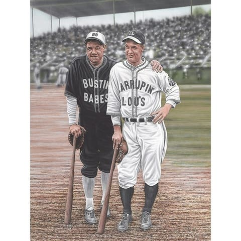 CANVAS Babe Ruth and Lou Gehrig Artwork by Darryl Vlasak Art Painting Reproduction