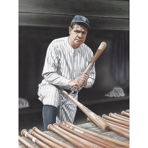 CANVAS Babe Ruth on Deck Artwork by Darryl Vlasak Art Painting Reproduction