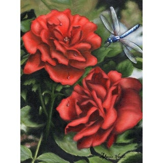 CANVAS Red Roses with a Dragonfly by Sheri Hart     Graphic Art Print