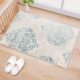 Porch & Den Pascuzzi Distressed Floral Damask Area Rug