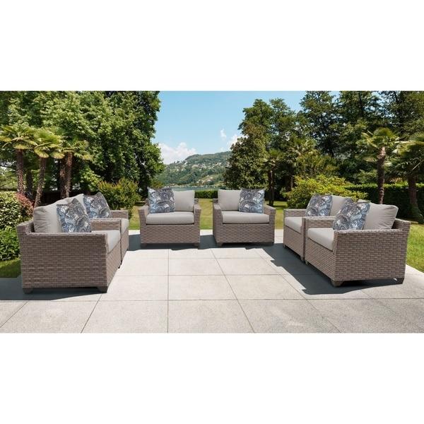 Monterey 6 Piece Outdoor Wicker Patio Furniture Set 06d. Opens flyout.
