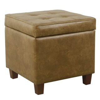 HomePop Square Tufted Storage Ottoman - Distressed Brown Faux Leather