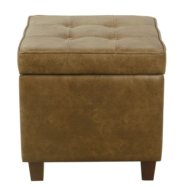 Homepop Square Tufted Storage Ottoman