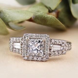 Auriya 1 3 4ctw Princess Cut Halo Diamond Engagement Ring 14k Gold Certified