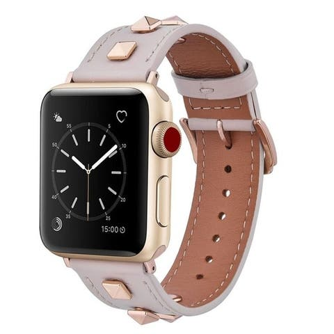 Genuine Leather Studded Band for Apple Watch Series 1, 2, 3, 4, and 5