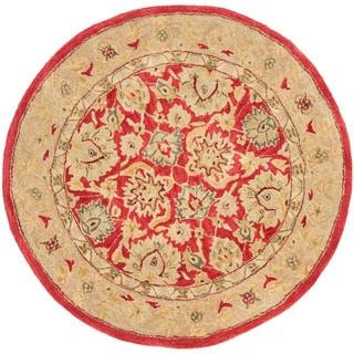 Safavieh Handmade Anatolia Oriental Red/ Ivory Hand-spun Wool Rug (4' Round)