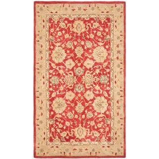 Safavieh Anatolia Handmade Red / Ivory Wool Rug (9' x 12')
