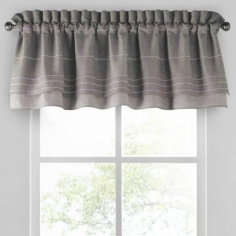 Porch & Den Molini Grey Stitched Layered Valance