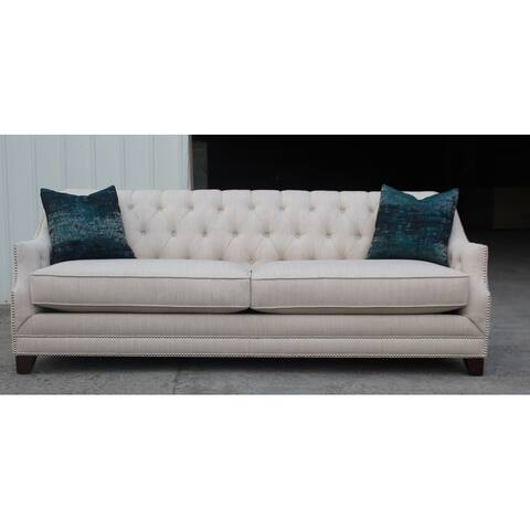 Fontana Beige Upholstered Sloped Arm Sofa