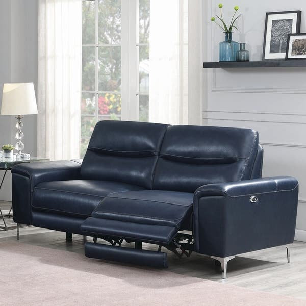 Swell Shop Jennell Ink Blue Upholstered Cushion Back Power Sofa Pdpeps Interior Chair Design Pdpepsorg