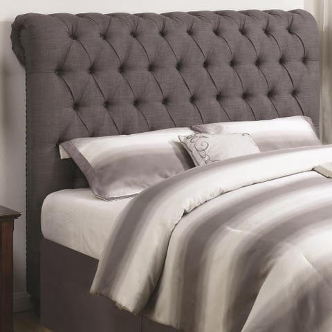 Sperry Grey Button Tufted Upholstered Headboard
