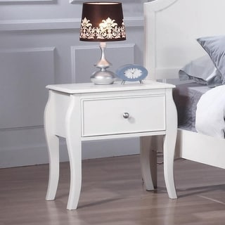 Paloma White 1-drawer Nightstand with 4 Flared Legs