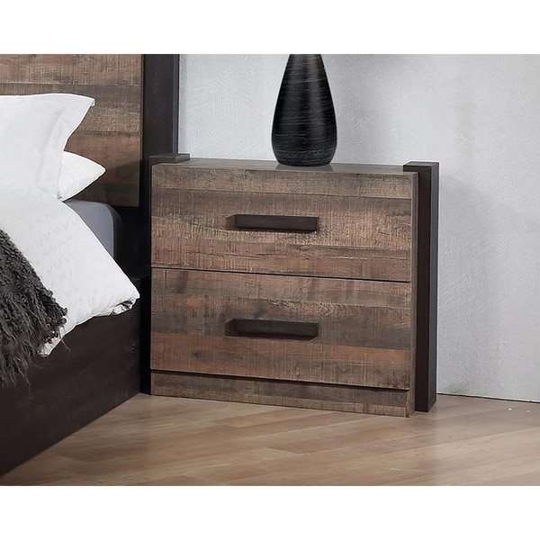 Kelsey Weathered Oak and Rustic Coffee 2-drawer Nightstand