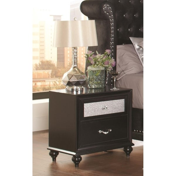 Wilton Black and Metallic 2-drawer Nightstand