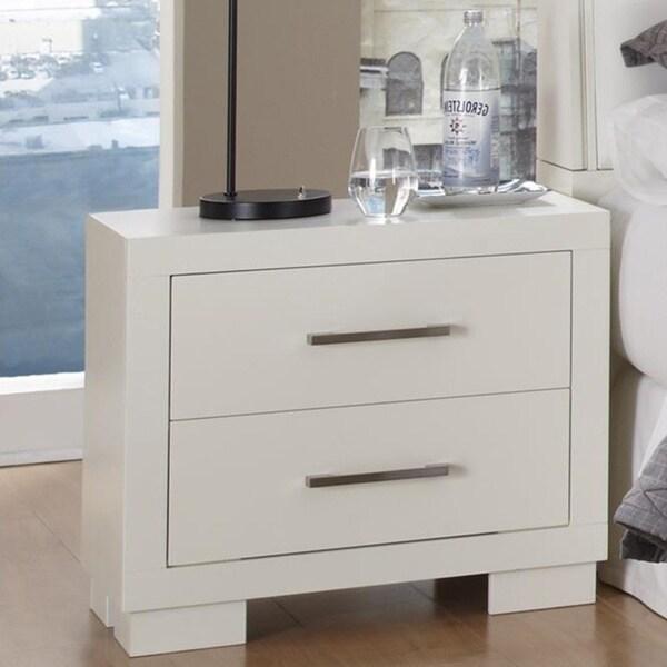 Copper Grove Zejtun White 2-drawer Rectangular Nightstand with Bar Handle Pulls