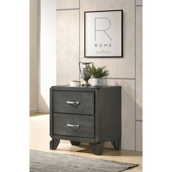 Lisette Caviar 2-drawer Nightstand with Tapered Legs