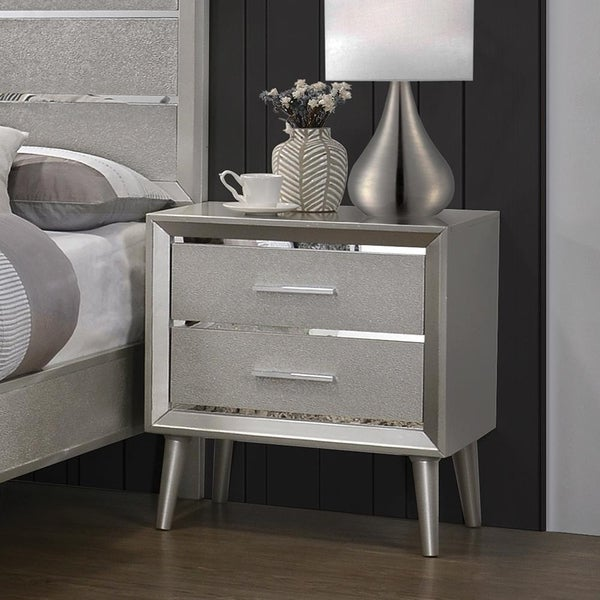 Veronique Metallic Sterling 2-drawer Nightstand with Tapered Legs