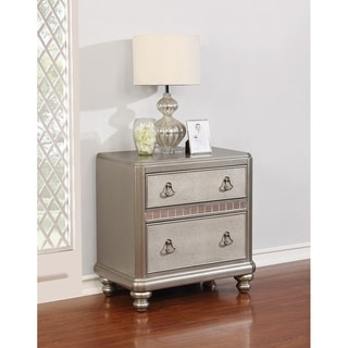 Albright Metallic Platinum 2-drawer Nightstand with USB outlet