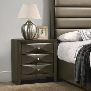 Noelle Mod Grey Nightstand with 3 Bowtie-shaped Drawers