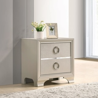 Silver Orchid Clinchard Metallic Sterling Nightstand
