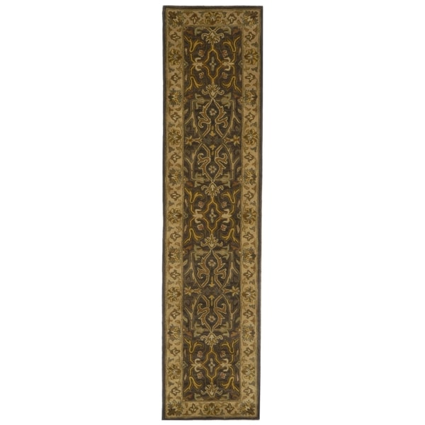 Safavieh Handmade Heritage Timeless Traditional Charcoal Grey/ Ivory Wool Runner (2'3 x 8')