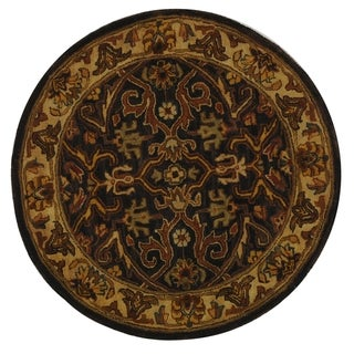 Safavieh Handmade Heritage Timeless Traditional Charcoal Grey/ Ivory Wool Rug (4' x 4' Round)