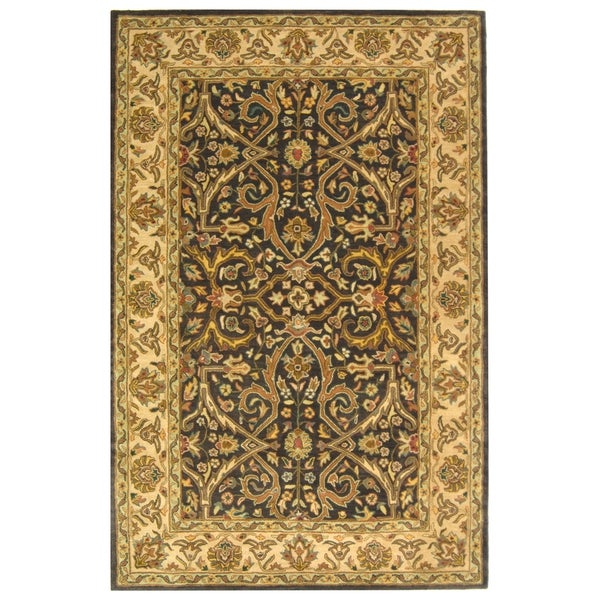 Safavieh Handmade Heritage Timeless Traditional Charcoal Grey/ Ivory Wool Rug (9'6 x 13'6)