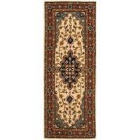 Safavieh Handmade Heritage Traditional Tabriz Ivory/ Red Wool Runner (2'3 x 12')